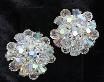 SO # 1070 Vintage Silver Tone Clear Crystal Aurora Borealis Cluster Clip On Earrings