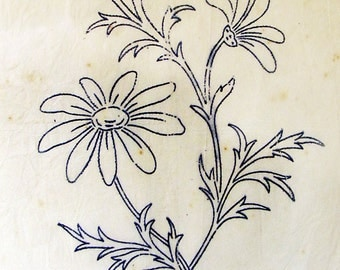 Blue daisy flower print illustration - Antique embroidery transfer cira 1913 - cottage home decor