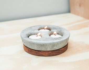Trio Tea Light Candle Holder - Cement and Wood