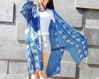 Blue kimono silk print boho, Bohemian, ethnic