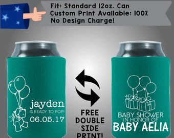 Name Is Ready to Pop Date Baby Shower In Honor of Name Collapsible Fabric Baby Shower Can Cooler Double Side Print (BS70)