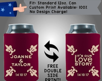 It's Our Love Story Names Date Collapsible Fabric Wedding Can Coolers, Cheap Can Coolers,  Wedding Favors (W293)