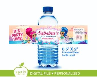 Shimmer and Shine Water Bottle Label, Shimmer and Shine Bottle Label, Shimmer and Shine label
