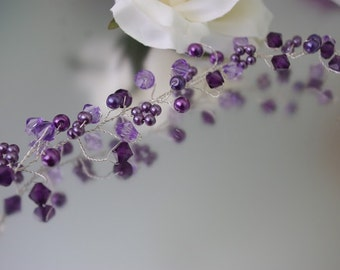 Deep purple Pearl and Crystal Hair Vine/Accessory Various Lengths  Wedding Prom Party