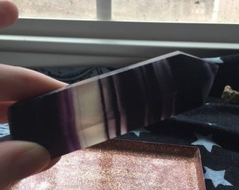 Large purple/extremely dark purple & clear fluorite point