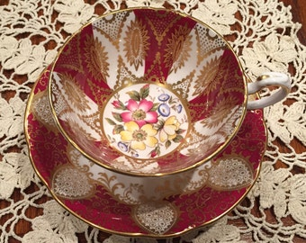 Vintage Paragon Tea Cup and Saucer Scarlet and Gold Detail.