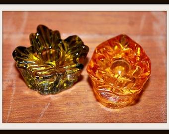 Vintage Miniature Leaf Taper Candle Holders, Green and Orange Leaf Candle Holders