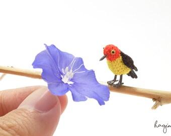 Miniature Western Tanager bird, Tiny crochet bird, Micro Western Tanager bird, amigurumi bird