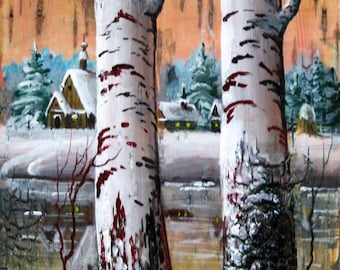"""Birch bark painting """"Two birches"""" unique eco gift"""