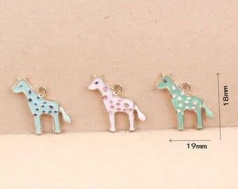 Giraffe Charms, 10PCS, 18*19MM, Enamel Charms ,Animal Charms, Gold Charm, Jewelry Supplies, Wholesale Charms