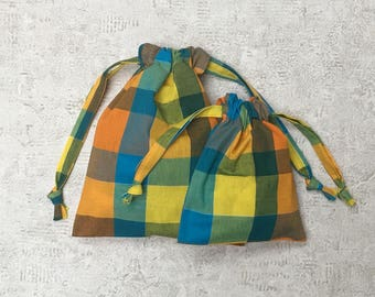smallbags Plaid - madras - 2 sizes - reusable cotton bags - zero waste