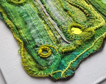 Olive & Lime Green Embroidered Textile Wall Art on canvas board. One of a kind.