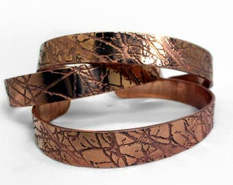 10mm Copper Cuff Bracelet | Autumn Branches Bracelet | Etched Copper | Handmade | Gift | Textured Copper | Adjustable Bracelet