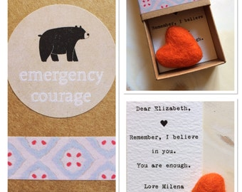emergency courage box,personalised,friendship gift, anxiety and depression gift, mindful present, meaningful heart, bear courage