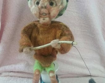 Fisherman,  needlefelted fisherman, ornamental fisherman, gift for him, unique gifts, collectables, handmade,