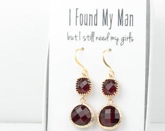 Long Garnet Gold Earrings, Gold Garnet Earrings, January Birthstone Gold Earrings, Bridesmaid Jewelry, Red Wedding Jewelry