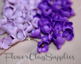 Lilac Buds 20 pcs tiny flowers polymer clay flowers purple lilac flower bead Clay Lilac