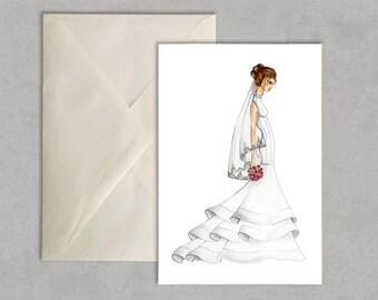 Bridal sophistication- fashion illustration, greeting card, fashion card,