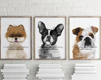 Printable Custom Dog Portrait | Printable download printable portrait printable art dog portrait dog lover gift dog art dog accessoires