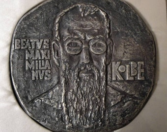 Rare Large Vintage French Bronze Plaque / Medal Maximilian Kolbe Veritas c.1980