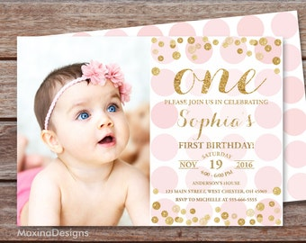First Birthday Invitation Girl 1st Birthday Pink and Gold Glitter Invite, Blush pink confetti invitation, Printable pink photo invite
