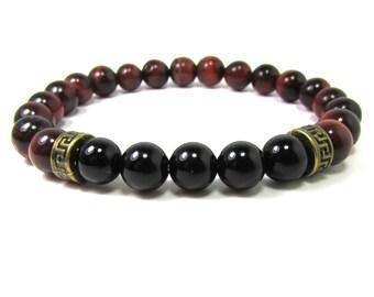 Onyx and Tiger Eye Bracelet, Men Bracelet, Mens Gift, Mens Bracelet, Men Gemstone Bracelet, Men Bracelet, Gift for Him, Beaded Bracelet