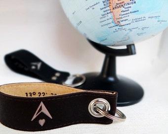 Key pendant coordinates of happiness, leather