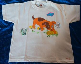 T-Shirt for kids 5/6 years, hand drawn, dog motif that hollow, animal