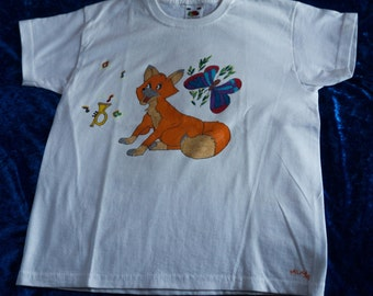 T-Shirt for kids 7/8 years, drawn by hand, Fox and Butterfly motif
