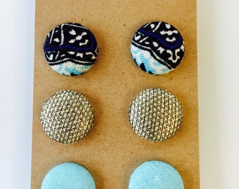 Fabric Button Earring Gift Pack