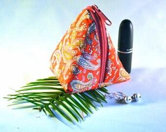 red paisley triangle bag, coin purse, pyramid bag, jewellery bag