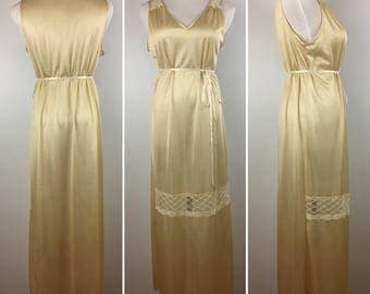 Vintage Gold Nightgown Size M | '70s Lingerie Nightie
