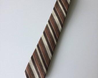 Verdi by Michael Green Brown Striped 100% Wool Retro Mens Necktie