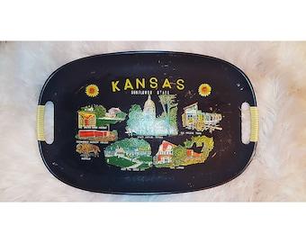 VINTAGE Kansas souvenir tray / mid-century tray / mid-century modern decor / decor