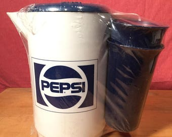 Vintage Retro Pepsi-Cola New in Package/Cellophane Wrapper 1/2 Gallon Pitcher & 4 Cups Glasses with 2 Pepsi Bandanas