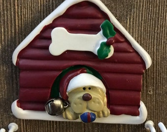 Personalized yellow dog Christmas ornament
