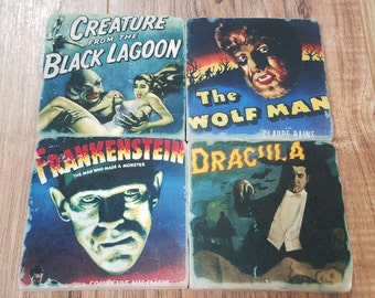 Classic Monster Movie Posters Tumbled Stone Coaster Set