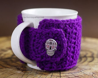 Sugar Skull Button Crochet Mug Cozy, Crochet Mug Cozy, Mug Cosy (more colours available)