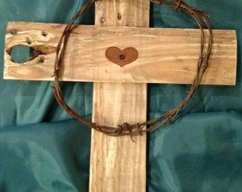 Rustic Heart Cross