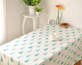 Linen Tablecloth, Christmas table decorations, tablecloths, tea tablecloth, Linen table cover, Pine tree