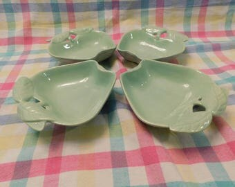 Four vintage 1950s  green APPLE dishes bowls by Hoening of California 734 USA