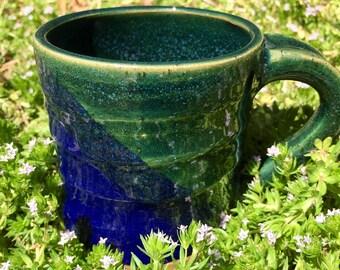 Merging | Unique Handmade Coffee/Espresso Mug | Tea Cup | Green and Blue | Ceramic | Pottery