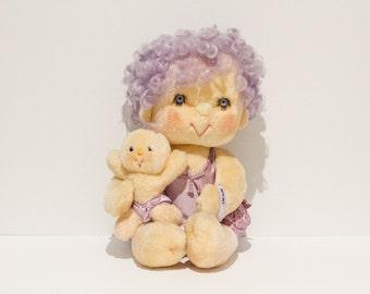 """Vintage - 1985 - Original Hugga Bunch Doll """"Impkins"""" - Complete with Hugglet Baby (Kenner)"""