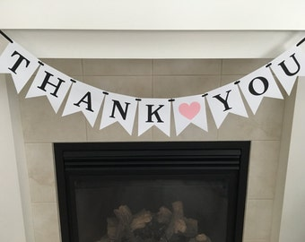 Thank You Banner, Thank You Sign, Wedding Decoration, Photo Prop, Wedding Reception, Black and White, Pink Heart