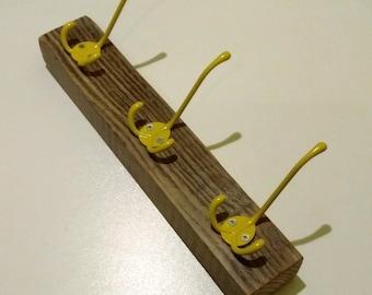 Three Hook Coat Rack. Metal and Reclaimed Wood