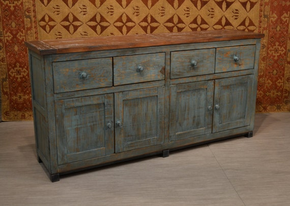 Distressed Wood Buffet ~ Rustic distressed style solid wood blue finish sideboard