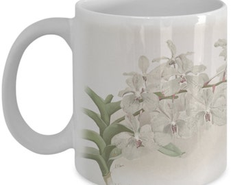 Coffee mugs w/ orchids flowers: botanical prints - Vanda ccerulea