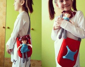 Tote Bag,tote bag canvas,tote bag personalized,Felt Baby Doll, Carry me tote bag, Beach bag, vegan bag, vegan baby doll,bags,diaper bag,red