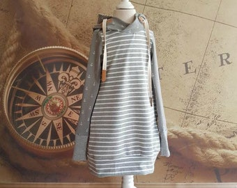 Anchor dress, summer, hood, grey, stripes, cord, PAP snap, striped dress, Gr. 86-176, vegan leather, summer dress, anchor dress, maritim, leather