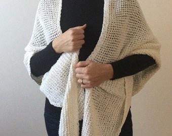 White knit lace shawl - shawl, wrap, shrug - Women, Girls